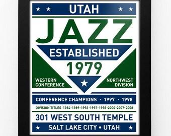 Utah Jazz Dual Tone Modern Team Print Framed