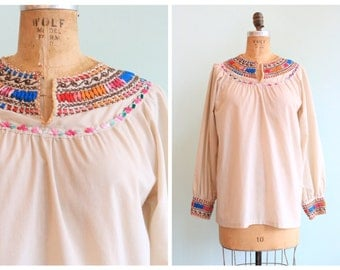 Vintage 1970's Embroidered Cotton Blouse | Size Medium