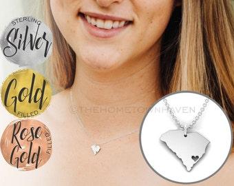 South Carolina Necklace - South Carolina state necklace, I heart South Carolina necklace