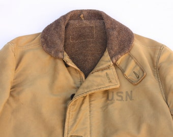1940s WWII USN Navy Deck Jacket Alpaca Lined N1 Large
