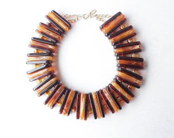 Giant Celluloide Amber like Necklace - Vintage Statment Necklace