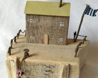 Reclaimed Driftwood Cottage Coastal little Wooden House Wood Sculpture unusual Gift