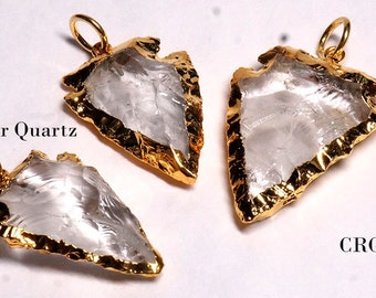 Gold Plated Clear Quartz Arrowhead Pendant #VG8890