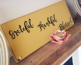 Grateful Thankful Blessed - Ochre wooden wall plaque