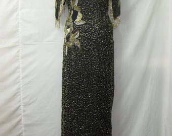 Black/gold/silver gown#10024