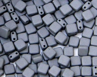 Tile Mini, 2 Hole Bead, Concrete Grey, 30 count, (tile-29566)