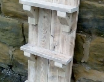 Reclaimed Pallet Wood Shelves with three flat shelves