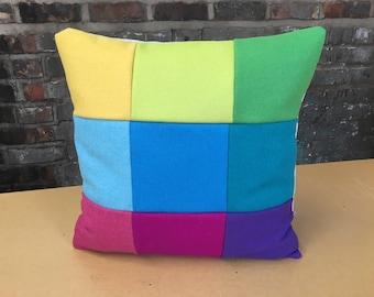 Signature Colour Block Wool Cushion