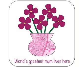 Personalised Mother's Day Map Coasters