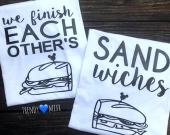 We finish eachothers sandwiches shirts