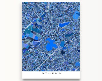 Athens Map Art Print, Athens Greece, Acropolis, Europe City Maps