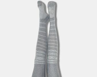 Grey Thigh High Socks Scandinavian Pattern, PM-081G