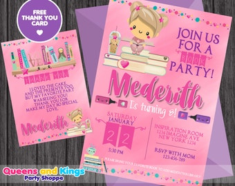 Book Party, Book lover, Bookworm Birthday Invitation, Book Party Invitation, Build a Library Invite, Book Party 1696 + FREE THANK YOU Card