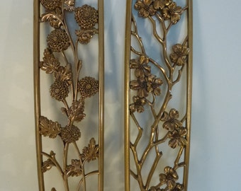 2 Vintage Syroco Wood Flower Plaques Wall Hanging