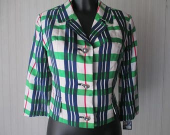 Giacchino in seta anni 80.Quadri verdi.Tg S/Charming 80s silk blazer/Green and blue plaid/Flowery buttons/Threequarters sleeves/Lined/Size S