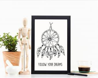 Dream Catcher print, Nursery Print, Follow Your Dreams Print