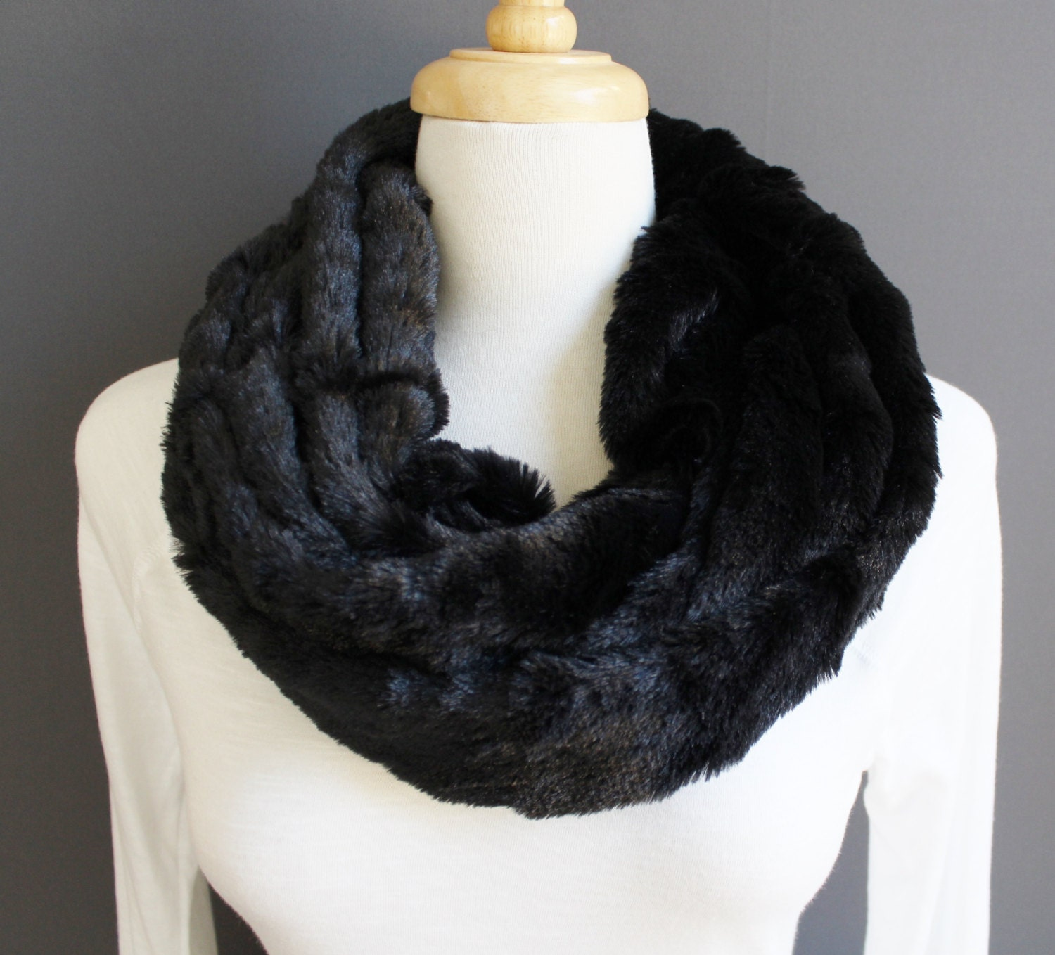 black scarf faux fur soft infinity scarf cowl neck fluffy soft