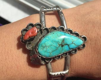 Vintage Native American Turquoise & Coral Cuff Bracelet