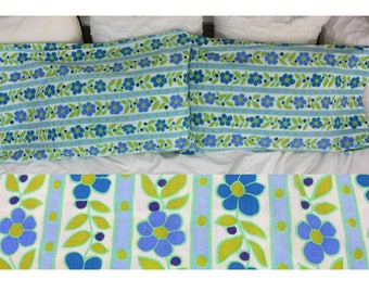 Vintage Pillow Case Set - Blue and Green Floral Set Of Two Pillow Cases - Cannon Royal Family Featherlite - Pair Of Funky Pillowcases