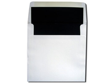 25 Square White with Black Lined Envelopes - CLEARANCE 10 CENTS EACH