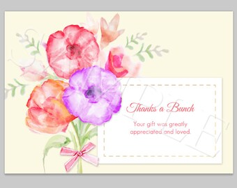 Watercolor Flower Thank you card, Thanks a Bunch