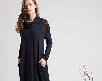 Winter Sale , Blue dress, Long sleeves wide turtleneck jersy dress,maxi dress, bohemian dress, womans clothing, boho, clothing