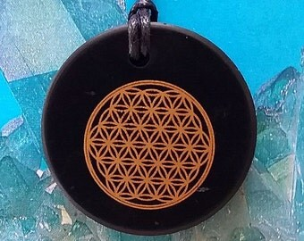 Round RUSSIAN Solid Black SHUNGITE Crystal Flower of Life Sacred Geometry Pendant with Chain,  Reiki, EMF Protection