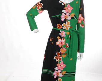 FREE US SHIPPING Vintage Color Block Floral Maxi Dress