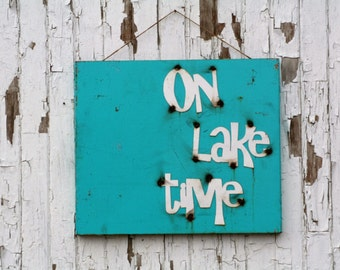On Lake Time rustic metal sign, lake photo board, lake house sign, lake cabin sign, vacation photo board, photo magnet board