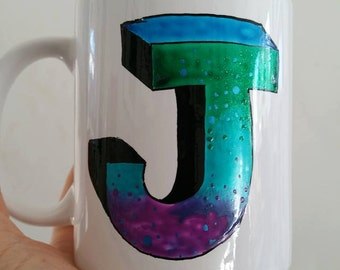 funky hand painted personalised cup - one initial in fabuolous galaxy colours