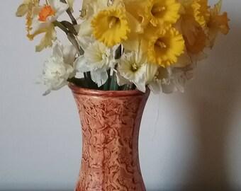 Glass vase vinegar painted in light sienna