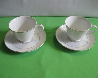 Norleans China White Lace Two Footed Tea Cups and Saucers (Meito China) Made in Japan