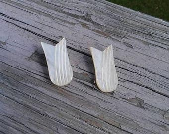 Vintage carved mother of pearl shoe clips
