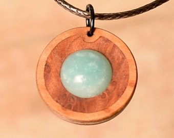 Amazonite with burl wood. Necklace and wooden pendant jewelery handmade in Bavaria/Germany