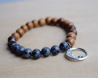 New Moon Bracelet / Astrology Bracelet / Moon Witch / Genuine Gemstone / Meditation Bracelet / Diffuser Bracelet / Larvikite Bracelet