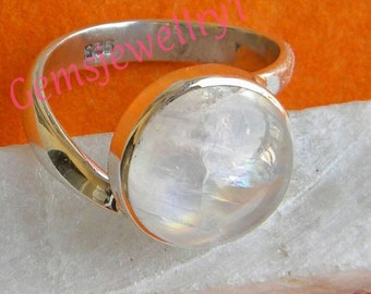 Moonstone Ring, Rainbow ring, 92.5 sterling silver, silver ring, MoonStone ring, Size US 5 6 7 8 9 10 11 12 13 14  -0115100139