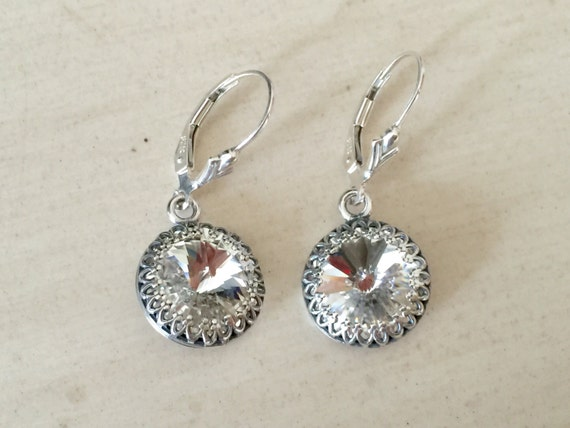 Swarovski Crystal Earrings, Sterling Silver