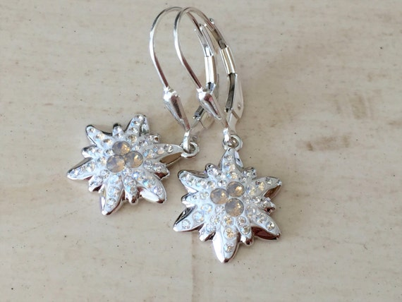 Swarovski Light Gray Opal Edelweiss  Earrings, Sterling Silver
