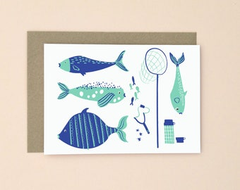 Fishing Illustrated Greetings Card A6