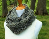 ON SALE Crocheted Circle Scarf, Crocheted Infinity Scarf, Cozy Circle Scarf in Granite Dust, Unisex Scarf