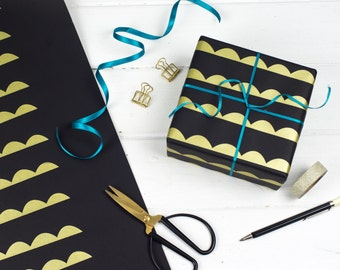 Geometric Gift Wrap Set, Metallic Gold Silver Wrapping Paper, Screenprinted Triangle and Scallop Pattern, Luxury Black Wrap & Gift Tags