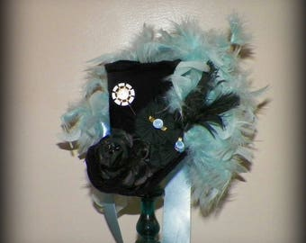 Mini Top Hat Fascinator Black Blue Tea Party Steampunk  Gothic Cosplay Costume Bridal