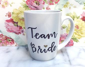 Personalized Team Bride Coffee Mug- Custom Bridal Party Gift- Bridesmaid Proposal Gift-Bridal Shower Favors, Fun Bachelorette Party Ideas