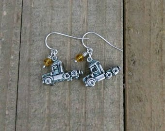 Semi truck - Trucker - Truck Driver - Trucker Earrings - Trucker Wife Jewelry
