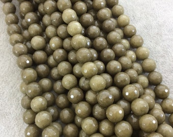 "10mm Faceted Dyed Olive Green Natural Jade Round/Ball Shape Beads with 1mm Beading Holes - Sold by 14.5"" Strands (Approximately 37 Beads)"