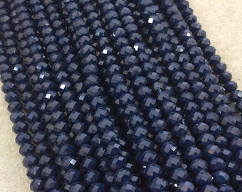 """5mm x 8mm Glossy Finish Faceted Opaque Dark Denim Blue Chinese Crystal Rondelle Beads - Sold by 16.5"""" Strands (Approx. 71 Beads) - (CC58-64)"""