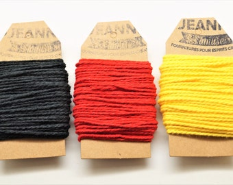 Kit 3 coupons cotton strings baker's twine, black, red, yellow, 3 x 10 m