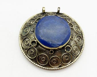 Tribal Pendant Cobalt Blue Stone Boho Chic Finding for DIY Jewelry Designs 2.5""
