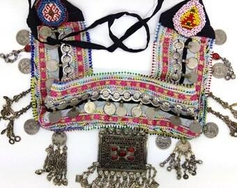 "Sparkly Pink Flowers Kuchi Tribal Belly Dance Belt Base Pendants Coins 30"" Wide"