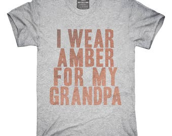 I Wear Amber For My Grandpa Awareness Support T-Shirt, Hoodie, Tank Top, Gifts